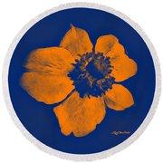 Midnight Orange Passion Flower Round Beach Towel