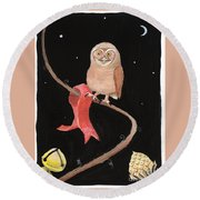 Midnight Owl Round Beach Towel