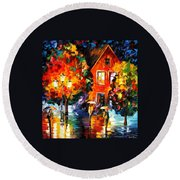 Midnight Rain Round Beach Towel