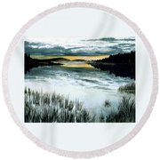 Midnight Sun Round Beach Towel