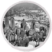 Midtown And Central Park View Round Beach Towel