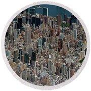 Midtown East Manhattan Skyline Aerial   Round Beach Towel