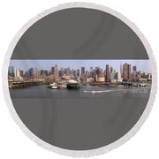 Midtown Manhattan Panorama Round Beach Towel
