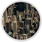 Midtown Manhattan Skyline Aerial Round Beach Towel