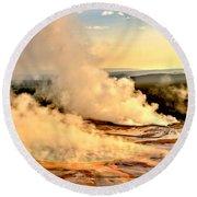 Midway Geyser Basin Steamy Sunrise Round Beach Towel