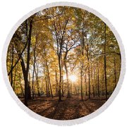 Midwest Forest Round Beach Towel