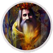 Midwinter Solstice Fire Lord Round Beach Towel