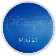 Mig 21 Blueprint Round Beach Towel
