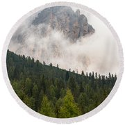 Mighty Dolomite Peaking Through The Clouds Round Beach Towel