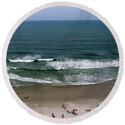 Mighty Ocean Aerial View Round Beach Towel
