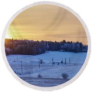 Mihari Sunset Round Beach Towel