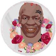 Mike Tyson Inspired Valentines Happy Valentine'th Day  Round Beach Towel