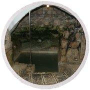 Mikvah - Ritual Pool - Of The Arizal Round Beach Towel