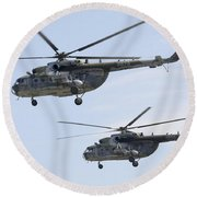 Mil Mi-17 Helicopters Of The Czech Air Round Beach Towel