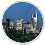 Milan Skyline By Night, Italy Round Beach Towel