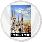 Milan Travel Print Round Beach Towel