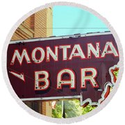 Miles City, Montana - Bar Neon Round Beach Towel