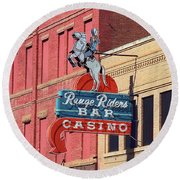 Miles City, Montana - Downtown Casino Round Beach Towel
