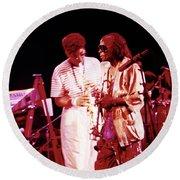 Miles Davis Image 10 And Bob Berg 1985 Your Under Arrest Tour Round Beach Towel