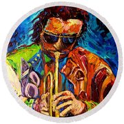 Miles Davis Hot Jazz Portraits By Carole Spandau Round Beach Towel
