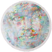 Miles Davis - Watercolor Portrait.4 Round Beach Towel