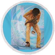 Miles Davis  In A Yellow Suit Round Beach Towel