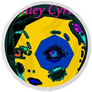 Miley Cyrus At Five With An Attitude Print Round Beach Towel