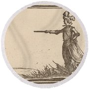 Military Commander On Foot Round Beach Towel