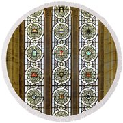 Military Insignia On Stained Glass - Meuse Argonne - East Round Beach Towel
