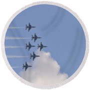 Military Planes In Flight Round Beach Towel