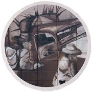Military Truck Street Art Round Beach Towel