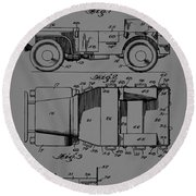 Military Vehicle Body Patent Drawing 1d Round Beach Towel