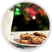 Milk And Cookies For Santa Round Beach Towel