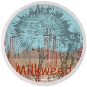 Milkweed Collage Round Beach Towel
