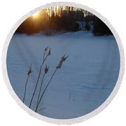 Milkweed Stems Winter Sunrise Round Beach Towel
