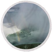 Milky Mist And Double Rainbows - Glorious Niagara Falls Round Beach Towel