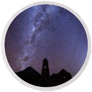 Milky Way Above Ruined Church Tower Round Beach Towel