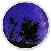 Milky Way And Silhouette Trees At Bruneau Dunes State Park Idaho Round Beach Towel