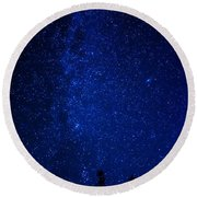 Milky Way And Trees Round Beach Towel