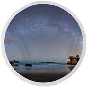 Milky Way At Cathedral Cove Round Beach Towel