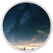 Milky Way During Perseids Round Beach Towel