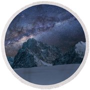 Milky Way On Italian Dolomites Round Beach Towel