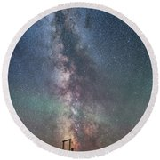 Milky Way Over An Old Ranch Corral Round Beach Towel