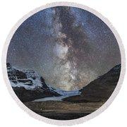Milky Way Over Athabasca Glacier Round Beach Towel