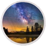 Milky Way Over Coffin Pond  Round Beach Towel
