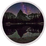 Milky Way Over Lone Eagle Peak And Mirror Lake Round Beach Towel