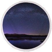 Milky Way Over Lonesome Lake Panorama Round Beach Towel