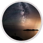 Milky Way Over Mary Island From Silver Harbour Near Thunder Bay Round Beach Towel