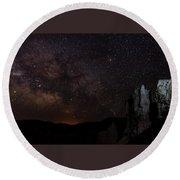 Milky Way Over Navajo Loop Trail Round Beach Towel