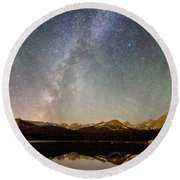 Milky Way Over The Colorado Indian Peaks Round Beach Towel